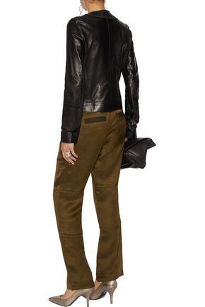 ROBERTO CAVALLI Embroidered fringed leather jacket