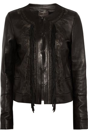 ROBERTO CAVALLI Embroidered fringed leather jacket