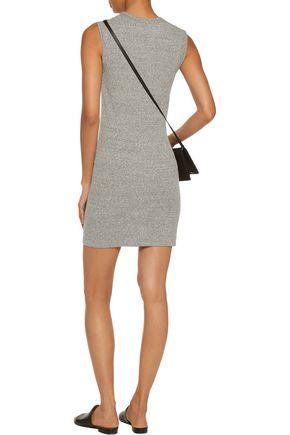 ENZA COSTA Marled ribbed-knit mini dress