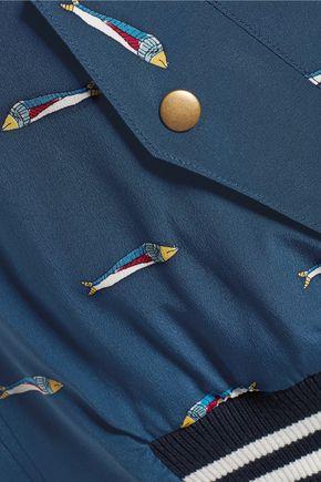 SEA Printed silk crepe de chine bomber jacket