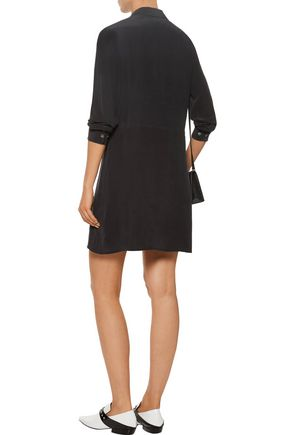 EQUIPMENT Demi ruffle-trimmed pintucked washed-silk mini dress