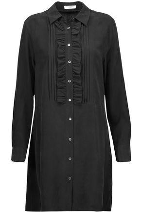 EQUIPMENT Demi ruffle-trimmed pintucked washed-silk mini dress