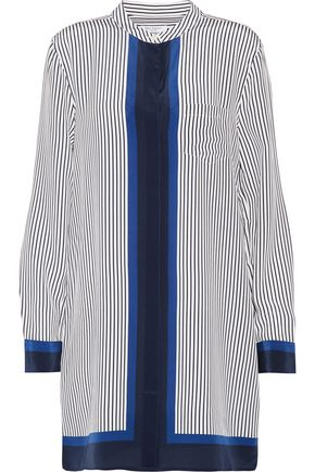 EQUIPMENT Pinstriped washed-silk mini dress