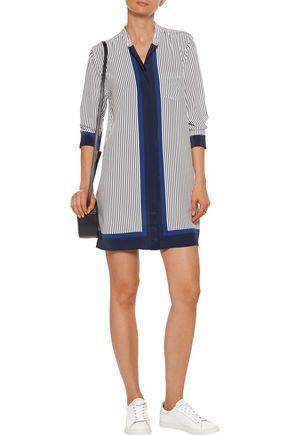 EQUIPMENT FEMME Belen pinstriped washed-silk mini dress