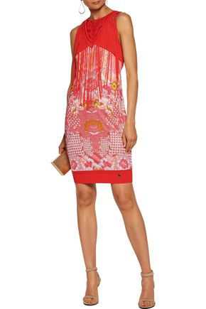 ROBERTO CAVALLI Fringed paneled printed satin and stretch-knit mini dress