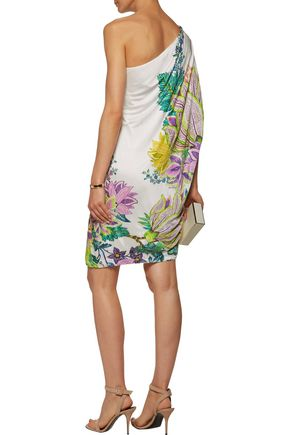 ROBERTO CAVALLI Embellished one-shoulder printed satin mini dress