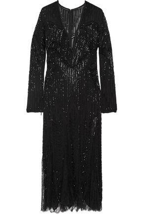 ROBERTO CAVALLI Lace-paneled embellished silk midi dress