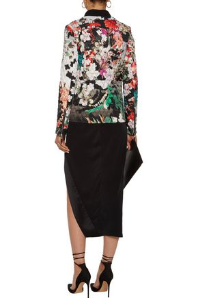 ROBERTO CAVALLI Floral-print quilted shell down bomber jacket