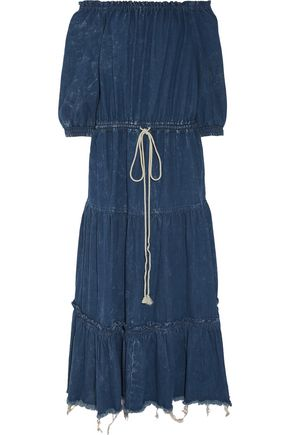 CHLOÉ Distressed denim maxi dress