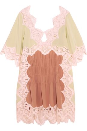 CHLOÉ Macramé lace-trimmed silk crepe de chine mini dress