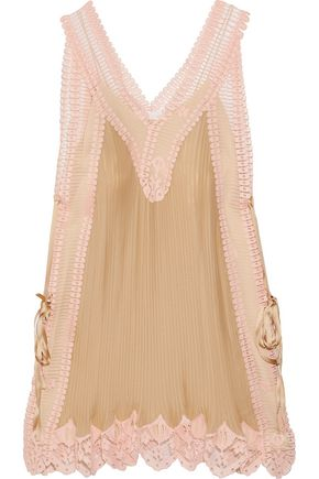 CHLOÉ Lace-paneled plissé-silk mini dress