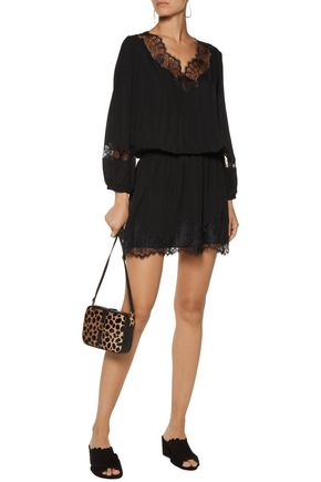 JOIE Branco lace-paneled silk crepe de chine mini dress