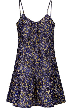CURRENT/ELLIOTT The Strappy Cami gathered floral-print cotton-broadcloth mini dress