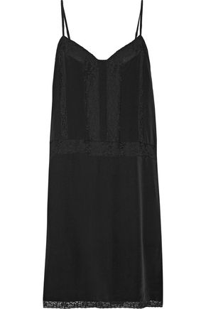 JOIE Fiorato cotton-blend lace-trimmed washed-silk slip dress
