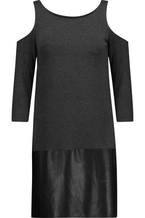 BAILEY 44 Bernard cold-shoulder stretch-jersey and faux leather mini dress