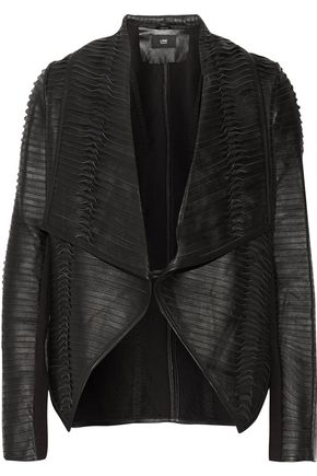 LINE Cosmo paneled leather biker jacket