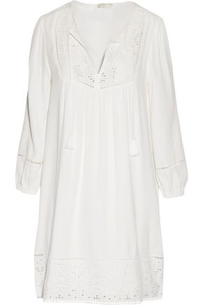 JOIE Chayna broderie anglaise-paneled crepe mini dress