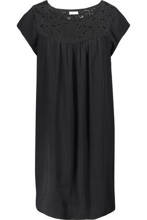 JOIE Elsanna broderie anglaise-paneled crepe mini dress