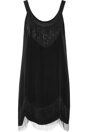 JOIE Madras embellished fringed washed-silk mini dresss