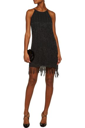 JOIE Sanibel fringed beaded gauze mini dress