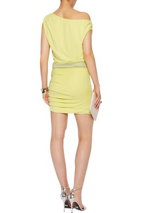 HALSTON HERITAGE Off-the-shoulder stretch-jersey mini dress