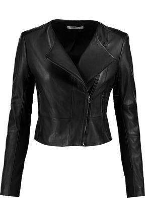 J BRAND Landing stretch jersey-paneled leather jacket