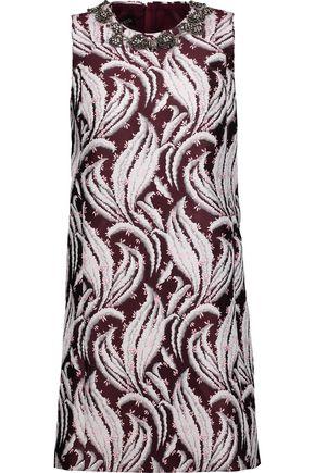 GIAMBATTISTA VALLI Bead and crystal-embellished brocade mini dress