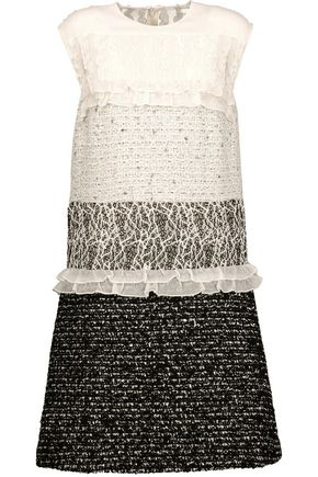 GIAMBATTISTA VALLI Paneled cotton-blend bouclé-tweed, guipure lace and silk-chiffon mini dress