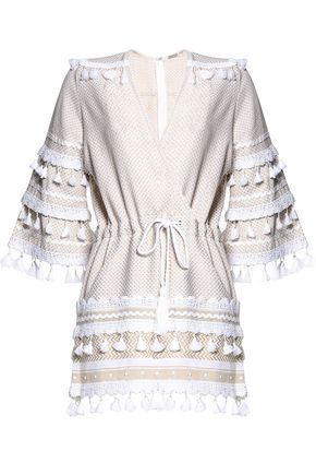 DODO BAR OR Wrap-effect embellished cotton-jacquard playsuit