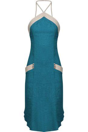 VIX Erte linen-blend gauze halterneck dress