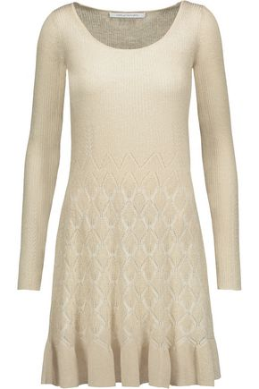DIANE VON FURSTENBERG Perlita pleated metallic ribbed and jacquard-knit dress