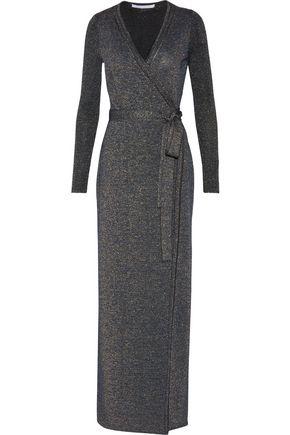DIANE VON FURSTENBERG Evelyn wrap-effect metallic merino wool-blend maxi dress