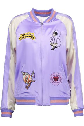 OPENING CEREMONY Fairytale reversible appliquéd silk-satin bomber jacket