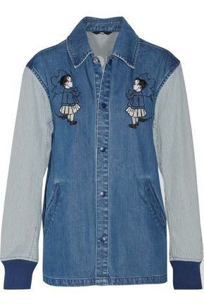 OPENING CEREMONY Embroidered paneled denim jacket
