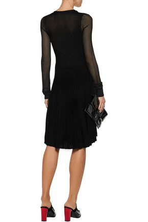 OPENING CEREMONY Cold-shoulder mesh-paneled ribbed-knit dress