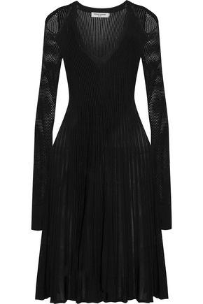 OPENING CEREMONY Cold-shoulder mesh-paneled ribbed-knit dress