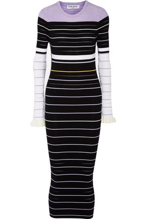 OPENING CEREMONY Ruffled striped ribbed-knit maxi dress
