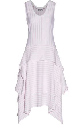 OPENING CEREMONY Asymmetric layered striped stretch-cotton jersey midi dress