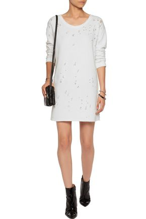 RTA Veronique distressed cotton-blend jersey mini dress