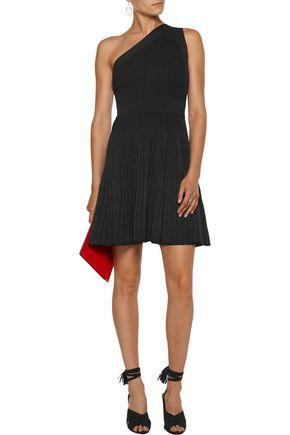 MILLY One-shoulder stretch-knit mini dress
