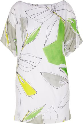 MILLY Dolman printed silk mini dress