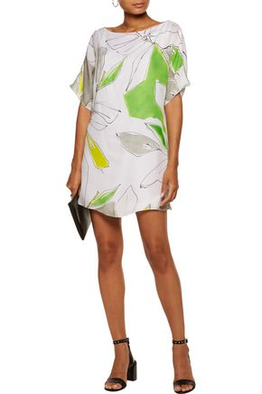 MILLY Dolman printed silk mini dress