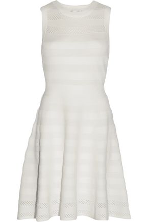 MILLY Pointelle-trimmed stretch-knit mini dress