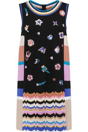MISSONI Embellished crochet-knit and wool-blend mini dress