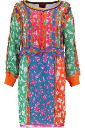 MISSONI Frayed printed silk-blend crepe dress