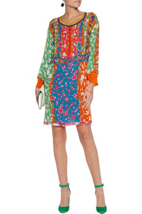 MISSONI Frayed printed silk-blend georgette dress