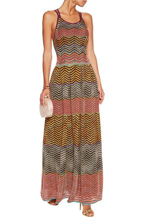 MISSONI Cutout metallic crochet-knit maxi dress