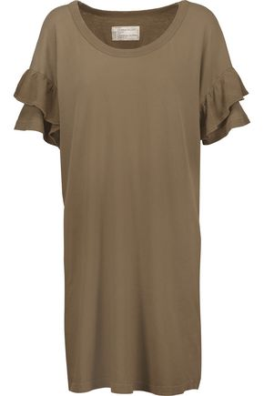 CURRENT/ELLIOTT Ruffled cotton-jersey T-shirt dress