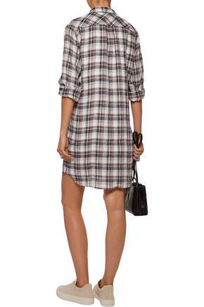 CURRENT/ELLIOTT The Modern plaid linen and cotton-blend shirt dress