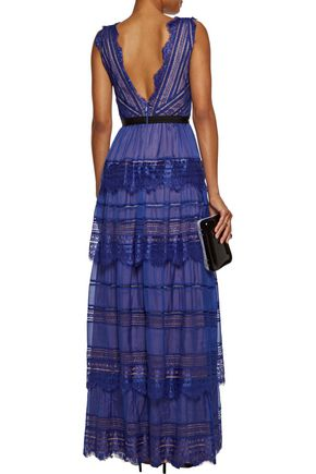 CATHERINE DEANE Isadora lace-paneled tiered silk-organza maxi dress